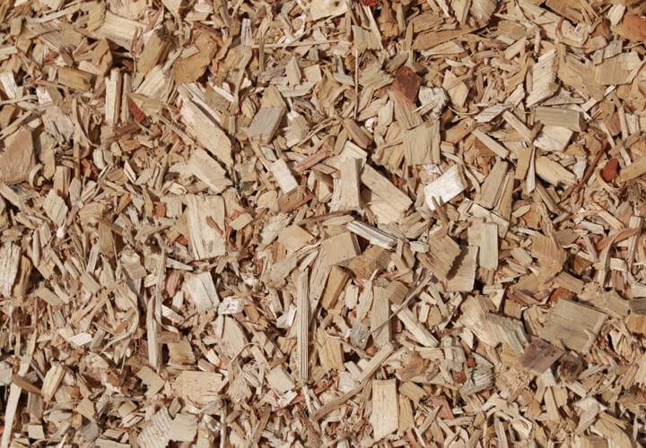 Holzhäcksel lose vom Nadelholzstamm